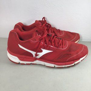 The Mizuno Synchro MX Baseball Turf Shoe Red Sz 12